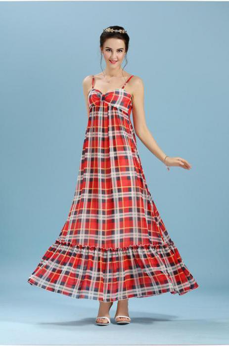 модное платье в клетку в пол