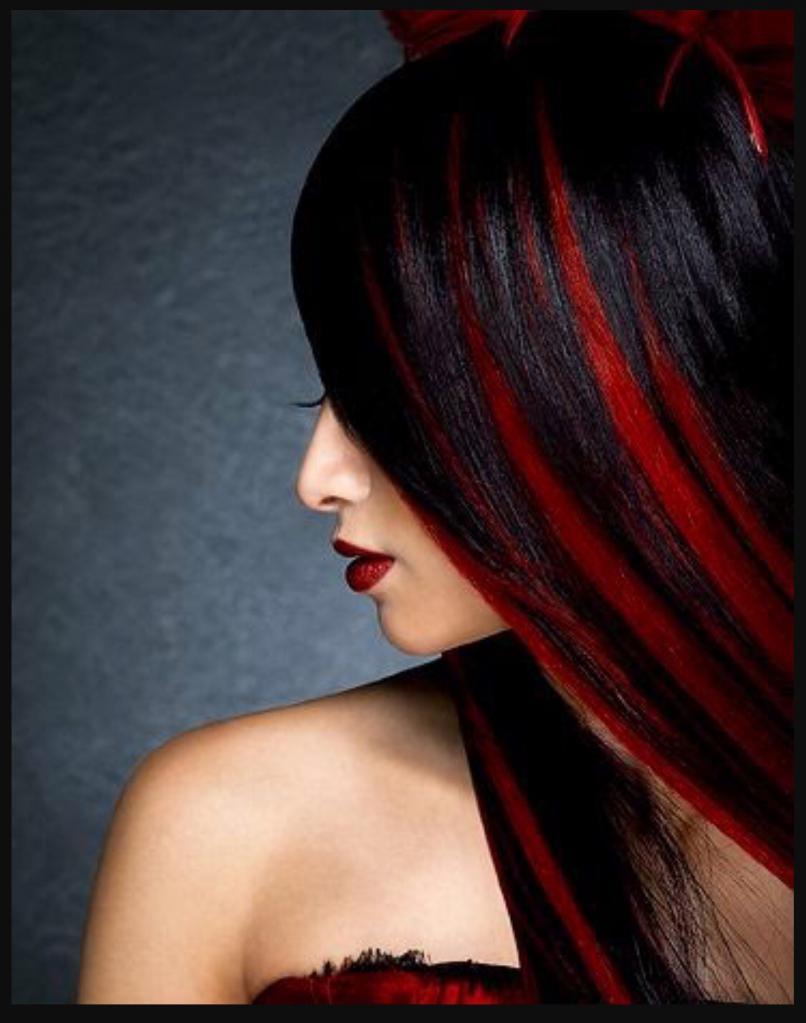 красное мелирование на черные волосы