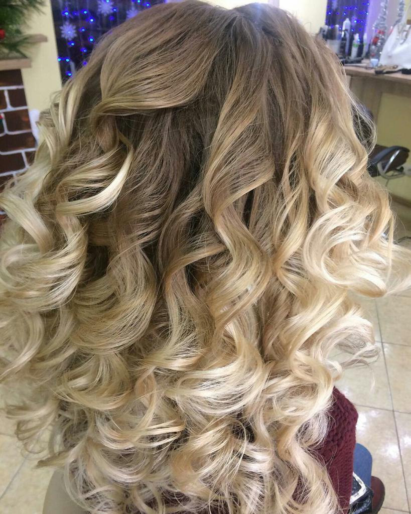 химия волос крупные локоны на средние волосы