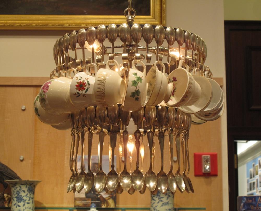 DIY cutlery chandeliers