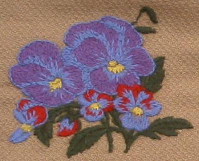 Вышивка шерстяными нитками цветы