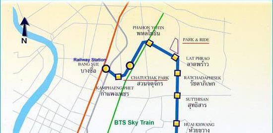 Схема метро Бангкока с достопримечательностями
