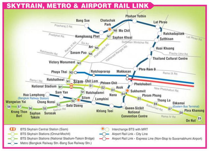 Схема метро Бангкока до аэропорта