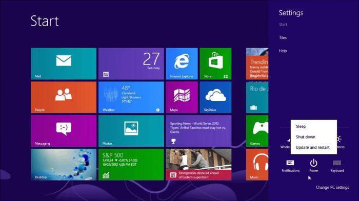 как выключать ноутбук в windows 8