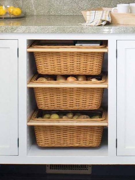 Корзины для хранения овощей на кухне
