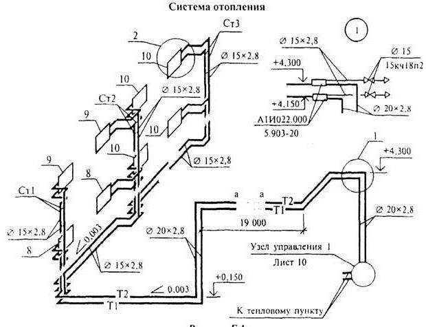 Схема и чертежи отопительной системы