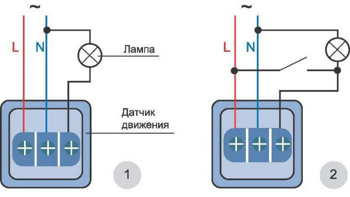 Подключение светильника с датчиком движения