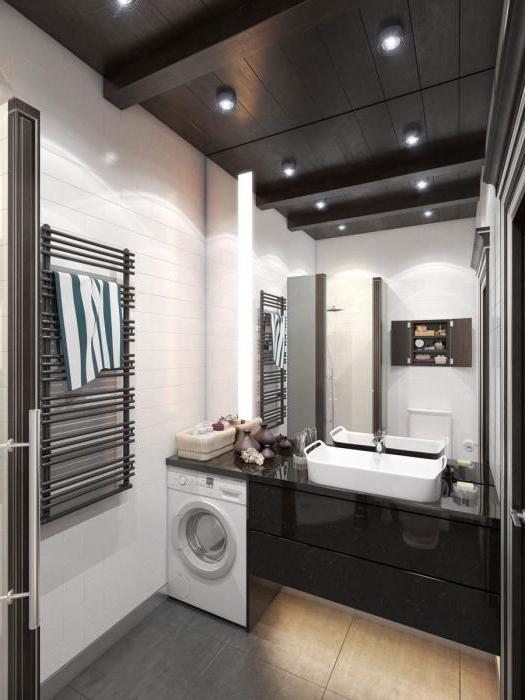 Стиральная машина в шкафу в ванной