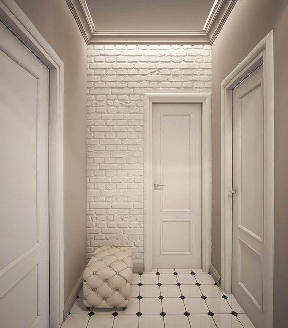 Стена из декоративного белого кирпича
