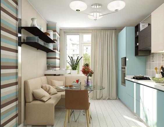 Rectangular kitchen 10 sq m design