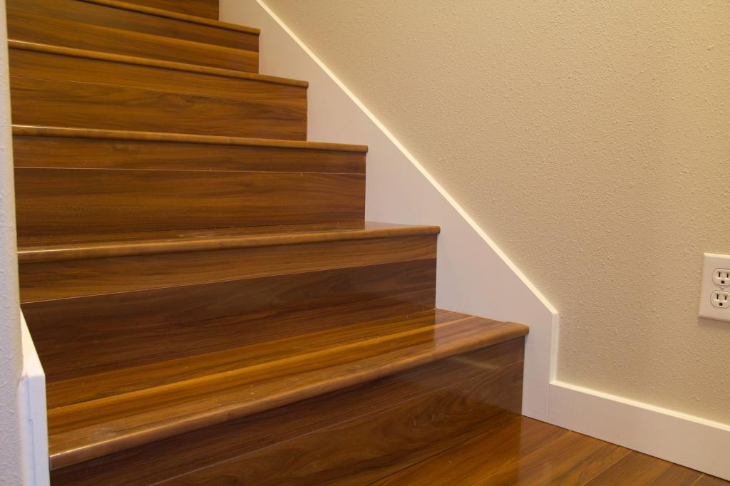 Facing stairs with wood