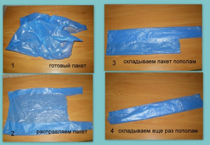 How to fold a bag in a triangle