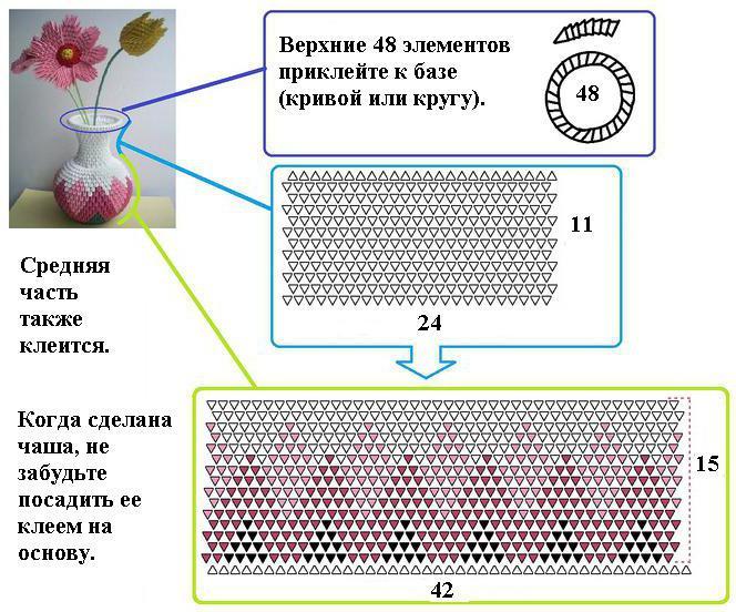 Модульные оригами. Схемы вазы