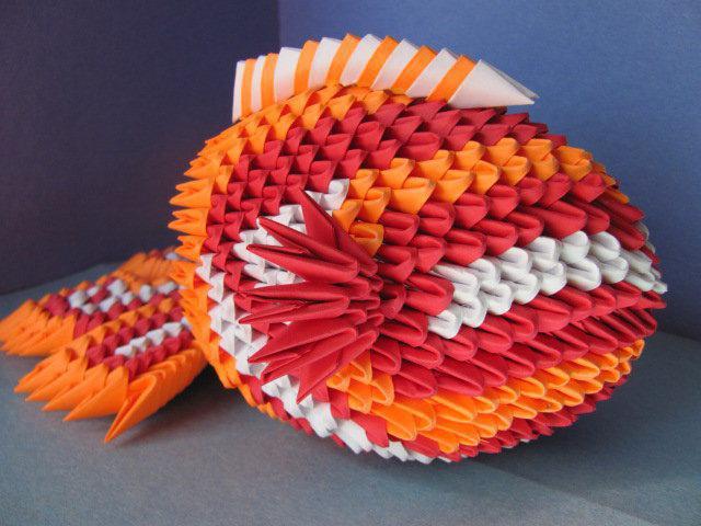 Модульное оригами рыбка. Схема
