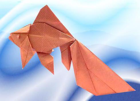 Золотая рыбка оригами. Схема