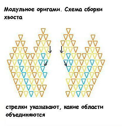 Модульное оригами рыбка. Схема сборки
