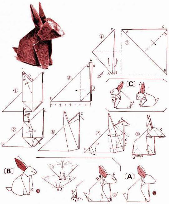 Оригами зайчик из бумаги