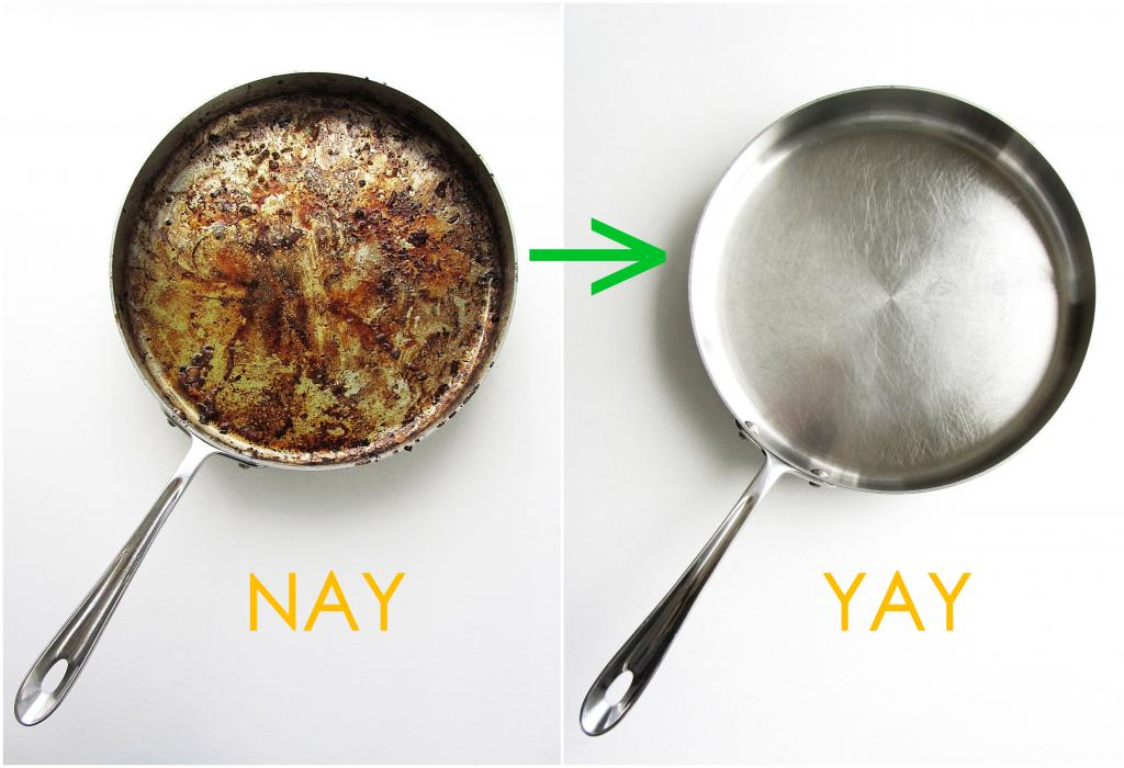 how to clean the pan from soot at home