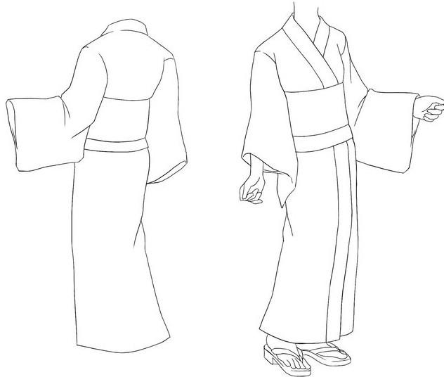 эскиз японского национального костюма