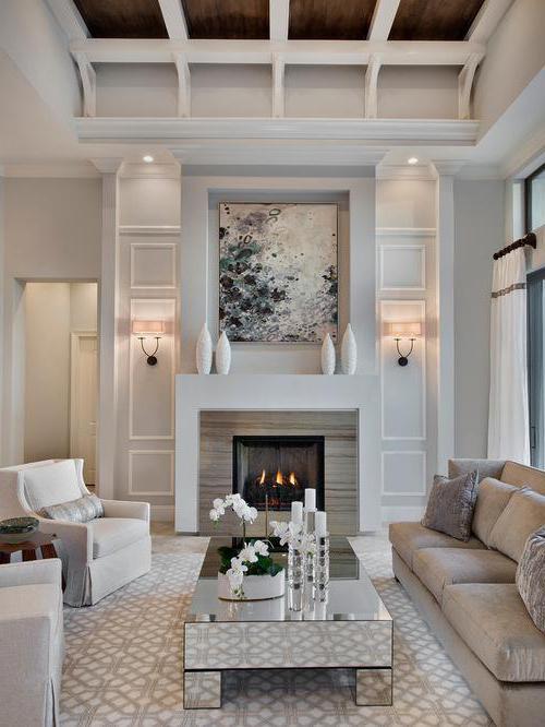 интерьер гостиной в современном стиле с камином