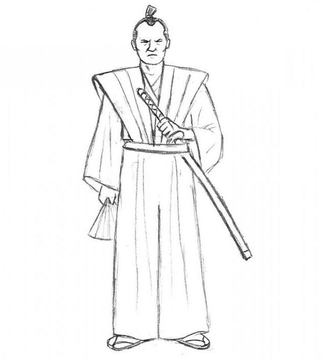 как нарисовать самурая карандашом поэтапно