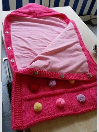 схема вязаного конверта для новорожденного