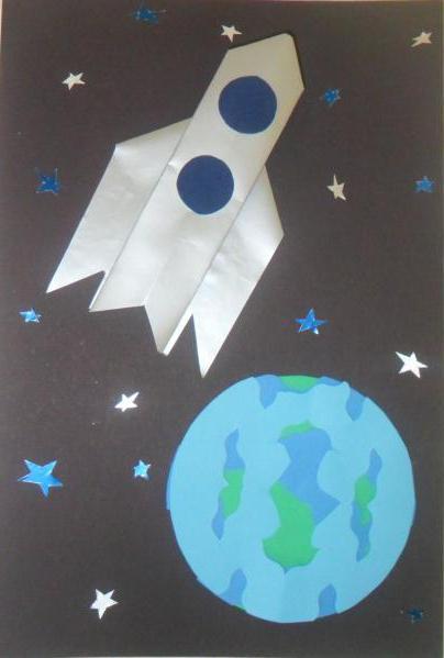 Днем, открытка ко дню космонавтики 4 класс