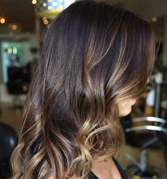 Мелирование в два цвета на темных волосах
