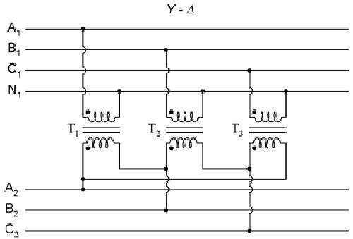 схема соединения трансформатора звезда-треугольник