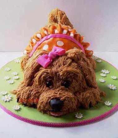 торт в виде собаки из крема