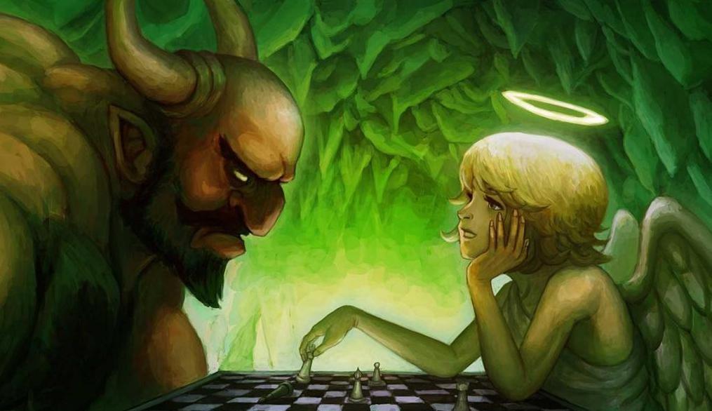 ангел и троль играют в шахматы