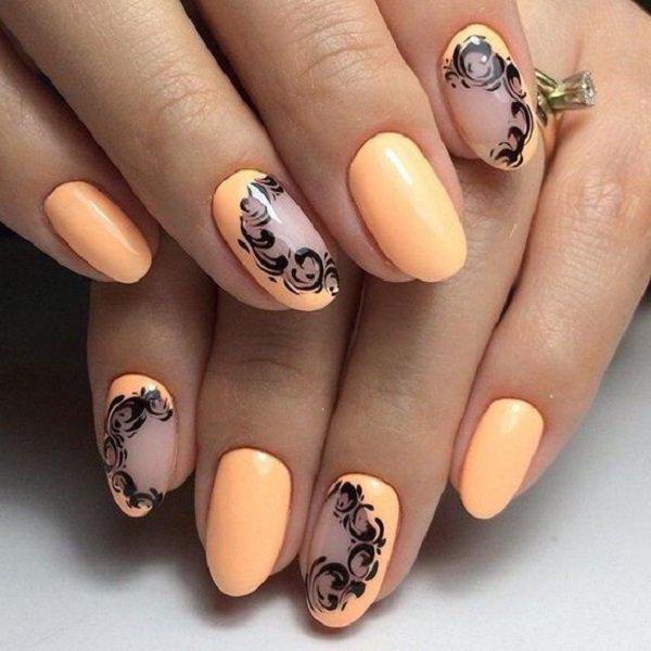 дизайн коротких овальных ногтей