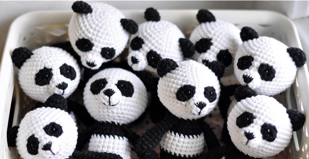 Как связать панду амигуруми?