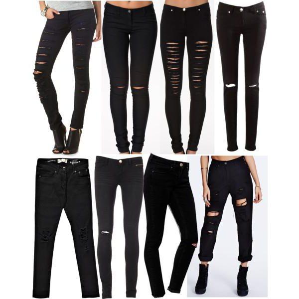 как порвать черные джинсы на коленках