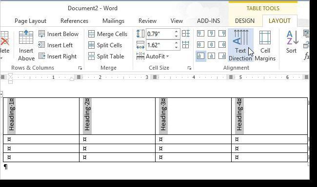 Как выбрать направление текста в ворде. Как изменить направление текста в Ворде