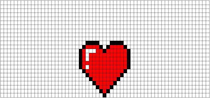 Как нарисовать по клеточкам сердечко с крыльми