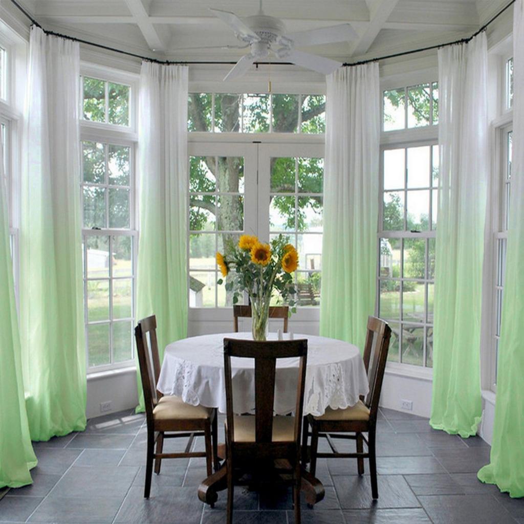 Зеленый градиент в дизайне комнаты