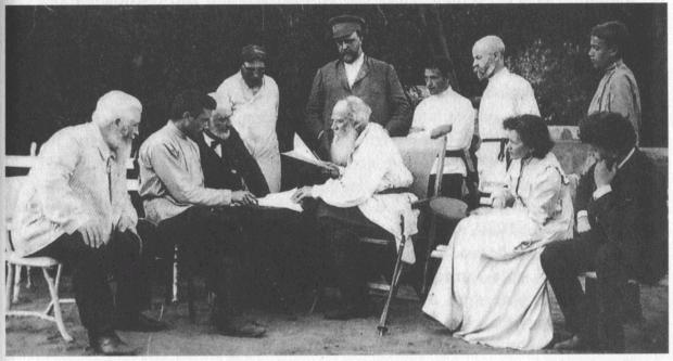 Tolstoy with his followers-Tolstoyans