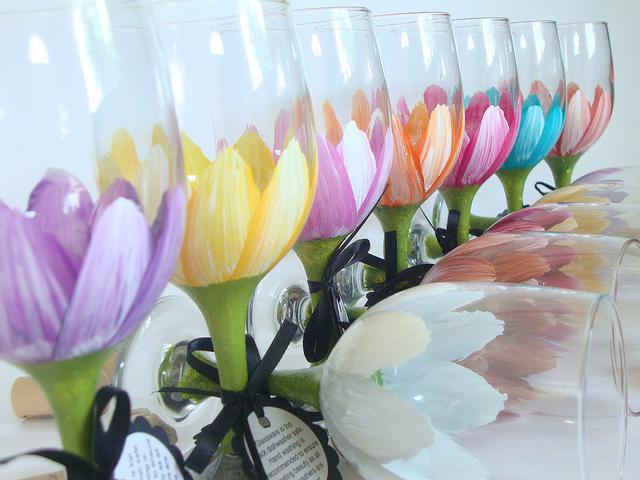 декор свадебных бокалов полимерной глиной