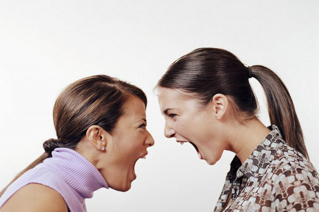 Women scream at each other