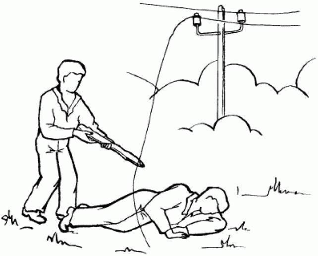освобождения пострадавшего от действия электрического тока до 1000в