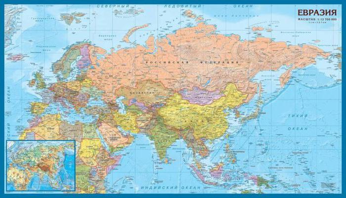 как расположен материк евразия относительно других