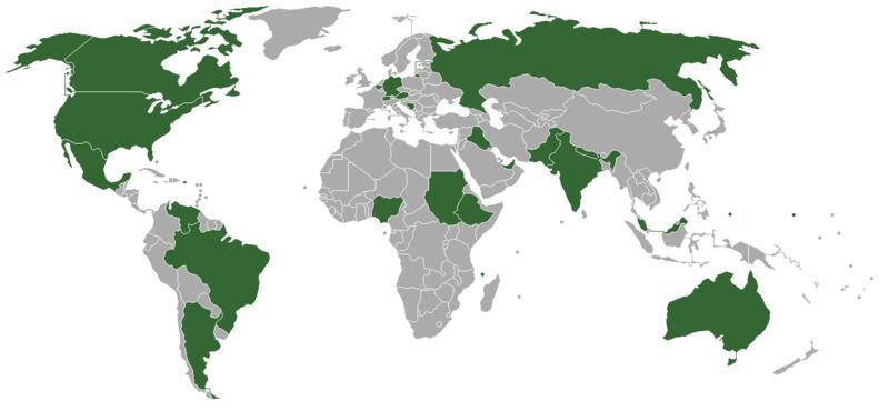 карта мира с федеративными государствами