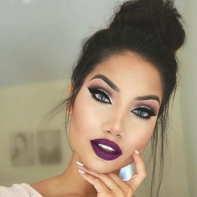 макияж со сливовой помадой