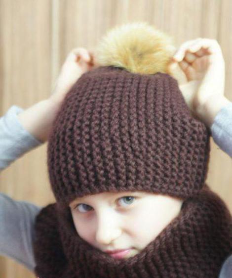 шапка и снуд спицами для девочки