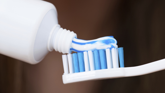 toothpaste on the brush
