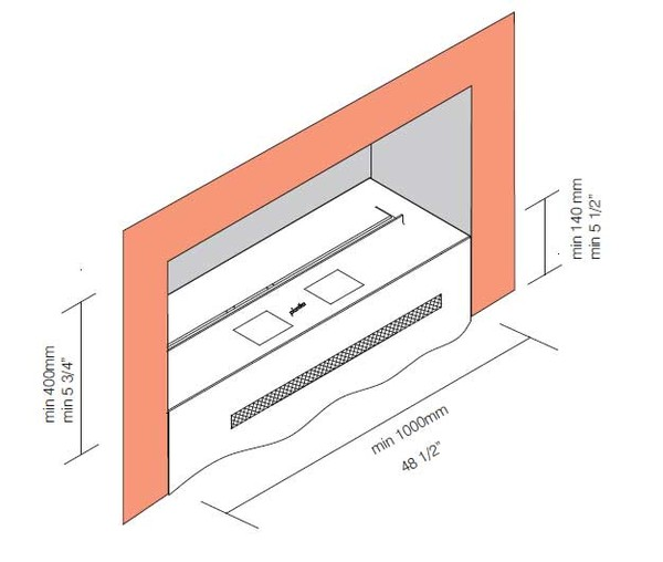 Built-in bio-fireplace drawing
