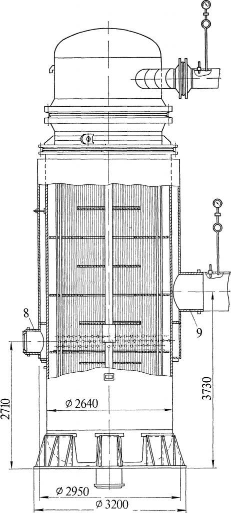 Схема подогревателя поверхностного типа
