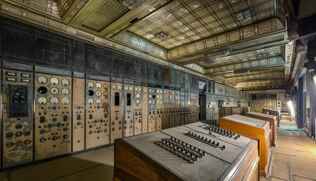 control room with outdated equipment