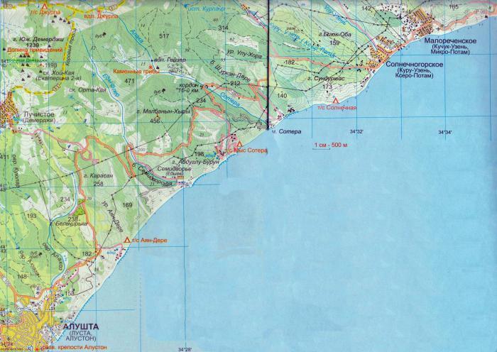 солнечногорск крым карта